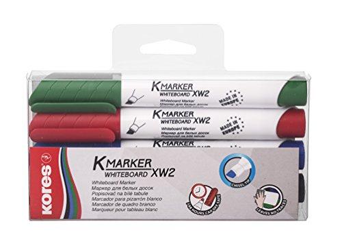 Kores Whiteboard Marker Set mit 3-5 mm Keilspitze, schwarz/blau/rot/grün