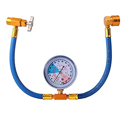 R134A Recharge Hose Car AC Refrigerant Charge Hose Kit Recharging Hose with Gauge, A/C 1/2 Recharge Measuring Kit Can Tap Air Conditioning Pressure Gauge R134A