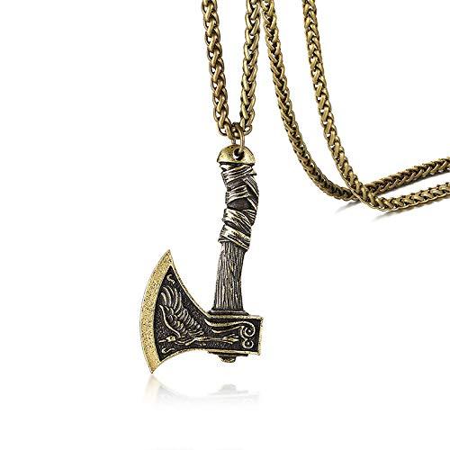 NC520 Collar de Hacha vikinga para Hombre, Colgante, Collar de protección de runas de Algiz, yelmo de asombro, joyería Celta nórdica pagana nórdica wicca