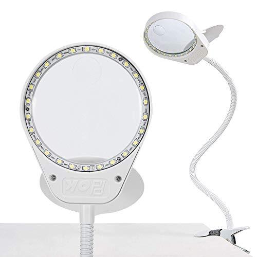 HOLULO 3X 10X Lámpara Lupa, Lámpara de Aumento con Luz y Pinza - para leer, hobbies, manualidades (Blanco, 3X 10X)