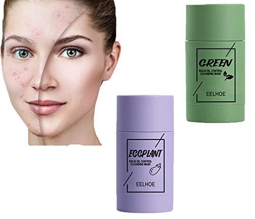 2pcs Green Tea Purifying Clay Stick Mask Oil Control Anti Acne Eggplant Fine Solids (2PCS Green Tea Mask)