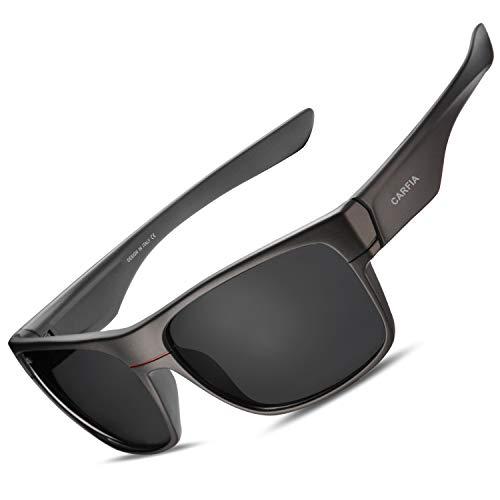 Carfia Polarisierte Herren Sonnenbrille UV 400 Schutz Sportbrille für Autofahren Fahrrad Angeln Golf, Rahmen: Grau; Linsen: Schwarz