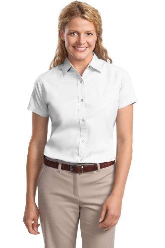 Port Authority - Ladies Short Sleeve Easy Care Shirt. - White/Light Stone - XL