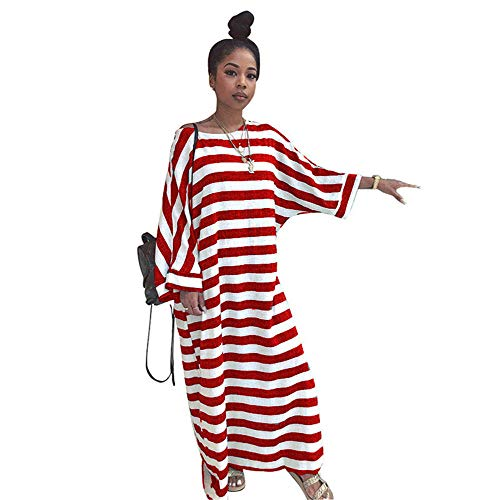 RKWEI Cocktailkleider Batwing Sleeve Loose Striped Print Kleid Bohemian Women Casual Bandage Casual Knöchellange Kleider As Shown 2 M