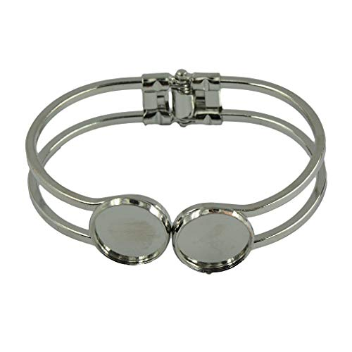 OperationCwrl 2 Pieces 16mm Round Cabochon Bezel Tray Blank Cuff Bangles Bracelets for Men Women