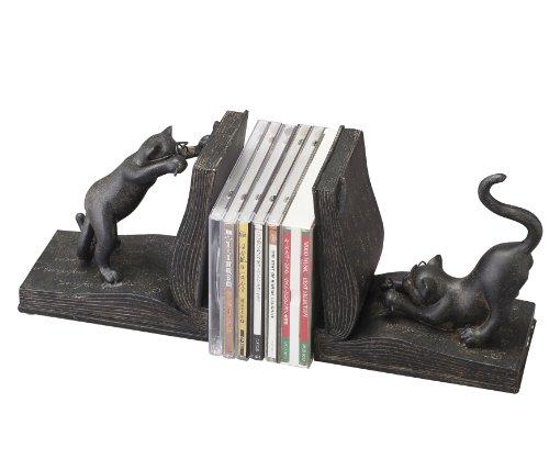 ねこの置物 ネコの置物 猫の置物 本立て おしゃれな置物 ブックエンド本の上のねこ(2個1セット)