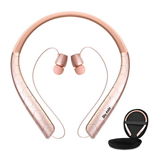 Bluenin Bluetooth Headphones with Carrying Case, Bluetooth 5.0 Wireless Neckband Headset with Retractable Earbuds,16 Hrs Playtime Sports Sweatproof Noise Cancelling Earphones with Mic (Rosegold)