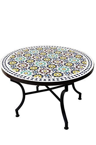 ORIGINELE Marokkaanse mozaïek tafel salontafel ø 100 cm groot rond | ronde kleine mozaïek tuintafel Mediteran | als tafel bijzettafel voor balkon of tuin | Albaicin meerkleurig 100 cm