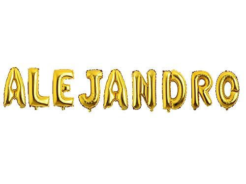 Carnavalife Pack Globos de cumpleaños Número/Letra Multicolor Decoración de Boda Aniversario Suministros de Fiesta Happy Birthday para Adultos y Niños Apto para Helio 45CM (Dorado, Alejandro)