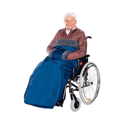 Schlupfsack, Rollstuhlsack Fußsack für Rollstuhl mit Klettverschluss & Reißverschluss, wasserdicht & warm, 140 x 158 cm, blau