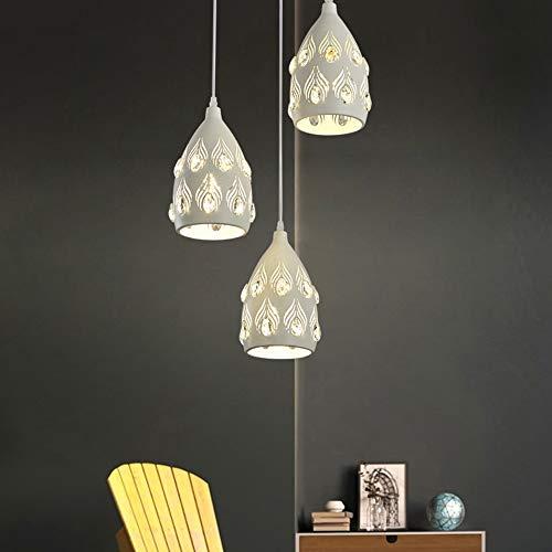 Boaber Moderna lámpara de techo minimalista de hierro forjado blanco con tres cabezales, tamaño 18 m x 20 cm, iluminación de café, bar, portal, comedor, dormitorio