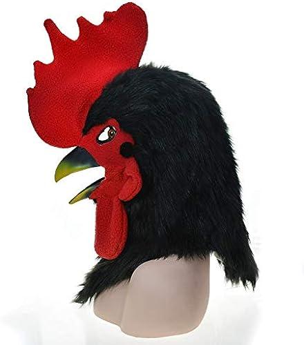 JUJIANFU-Masks Speciale Burst Vente Furry à La Main Personnalisé HalFaibleeen Masque De Bouche Mobile Coq Noir Masque Animal De Simulation La Bouche Peut bouger ( Couleur   noir , Taille   2525 )