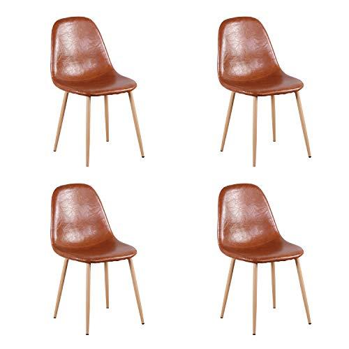WV LeisureMaster Juego de 4 sillas de Comedor, sillas de Cocina Modernas, sillas Laterales con Patas de Metal para Cocina, Comedor, cafetería