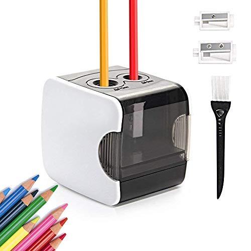 HOMMINI Taille Crayon Electrique Alimenté par USB ou par Piles avec 2 Tailles d'orifice pour Crayons (6-8mm & 9-12mm) et Brosse Propre,Taille-Crayon Automatique pour la Classe, Bureau - Blanc