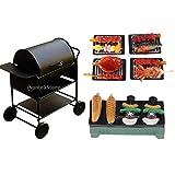 Miniatur Barbecue BBQ Grillwagen mit Lebensmittel Kit für 1/12 Puppenhaus Outdoor Garten Dekoration