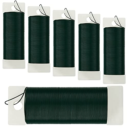 Belle Vous Alambre Floral Verde (Pack de 6) 35 Metros, Calibre 22 - Alambre Manualidades Flexible para Guirnaldas de Navidad,...