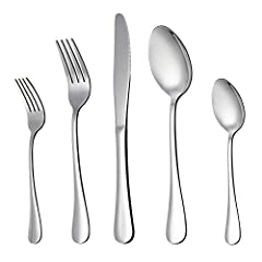 INCLUDE – 20-piece full set for 4, Consist of 4 dinner knives / 4 dinner forks / 4 dinner spoons / 4 salad forks / 4 tea spoons HEALTHY – Constructed by high quality rust-resistant stainless steel, Durable and healthy for everyday use, Dishwasher Saf...