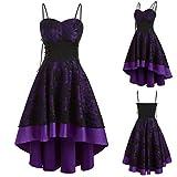 Julhold Vestido vintage de una línea para mujer, vendaje de Halloween, con cordones, alto, bajo, otoño, invierno, fiesta, vestido de noche, Morado (, X-Large