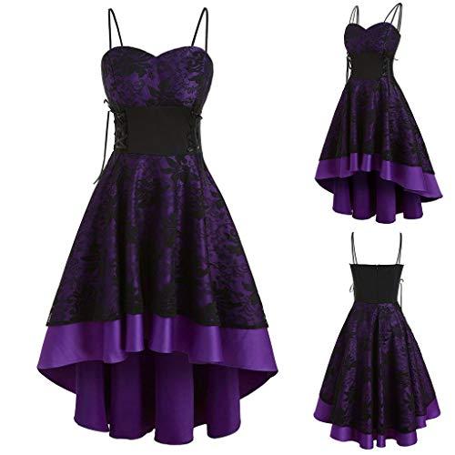 YEBIRAL Damen 1950er Vintage Retro Rockabilly Kleider Elegant Spitzenkleid Hochzeit Ärmellos Cocktail Abendkleider (Lila, S)