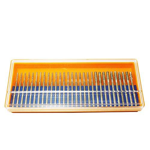 Oudtinx 30 pcs SET 10 pcs. 1mm 10pcs. 2mm 10 pcs. 3mm Diamond Drill Bit Cylindrical Burr Kit Jewelry Beach Sea Glass Shells Gemstones Lapidary 30pcs. 1 mm 2 mm 3mm (1/8')