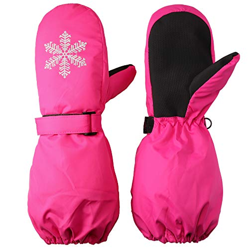 Flammi Kids Ski Mittens Winter Warm Fleece Lined Snow Mittens with Long Cuff Water Resistant Gloves for Girls 3-5 Years (Pink)