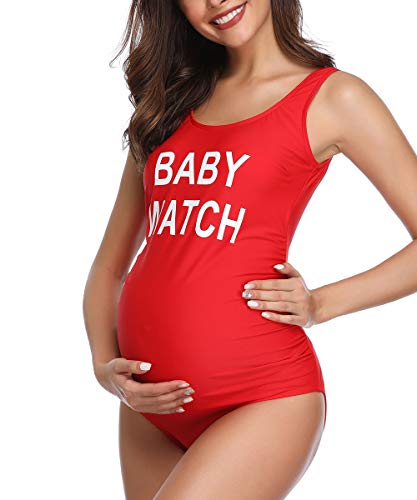 Women Backless Maternity Swimsuit Letters Printed One Piece Red Medium