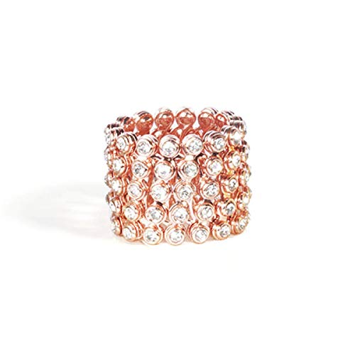 Luxury Transforming Bracelet Ring,Magic Ring Adjustable Telescopic Ring To Bracelet,ring And Bracelet Two In One (Rose Gold)