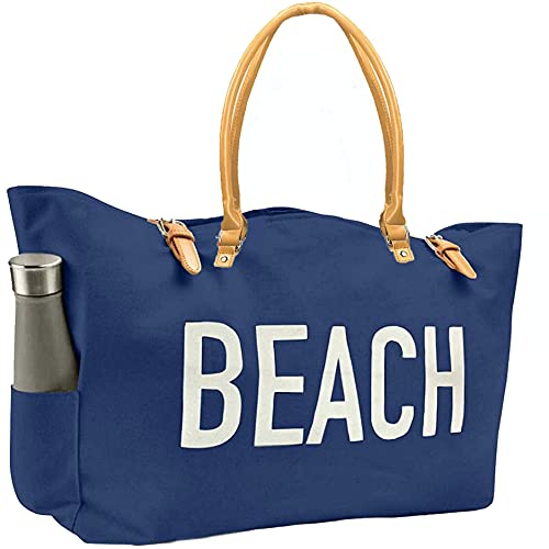 KEHO Fashion Beach Bag (Cute Travel Tote), Large and Roomy, Waterproof Lining, Multiple Pockets (Navy Blue Canvas)