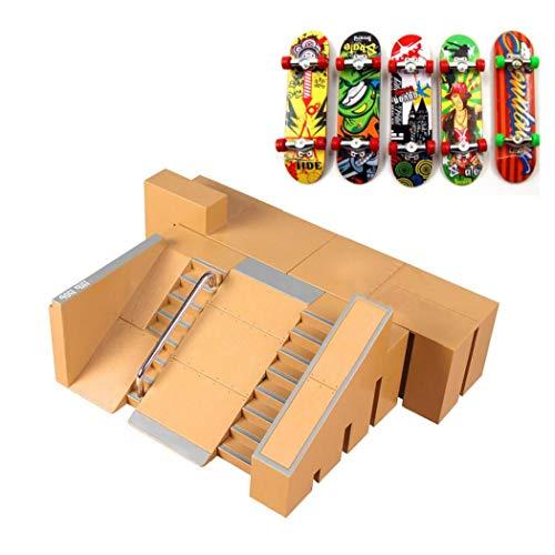Skate Park Kit, Mini Finger Rails Starter Kit mit 5 Finger für Finger Skateboard Ultimative Parks Ausbildung Props