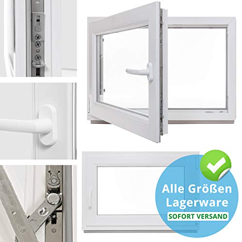 Kellerfenster - Kunststoff - Fenster - weiß - BxH: 80 x 40 cm - DIN rechts - 3-fach-Verglasung - Lagerware