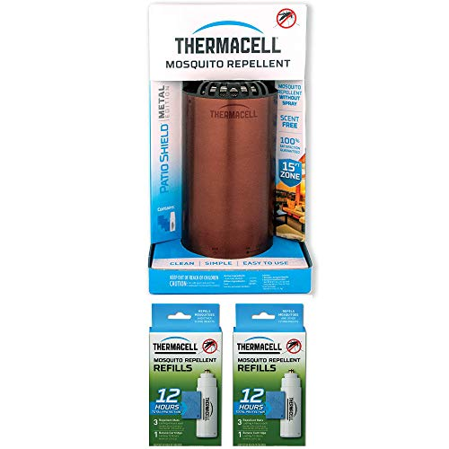 Thermacell Patio Shield Portable No Spray Bug Mosquito Repellent and 12-Hour Mosquito Repellent Refill Packs with 3 Mats and 1 Fuel Cartridge (2 Pack)