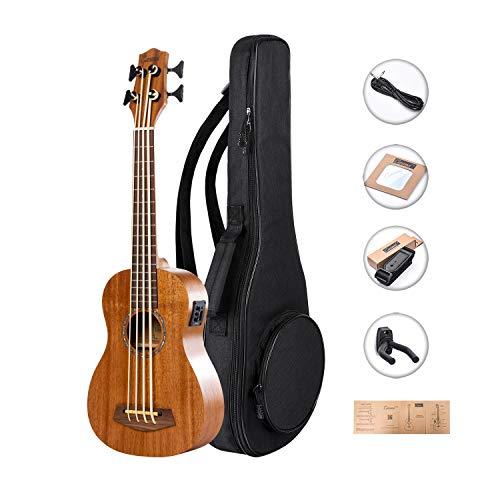 Left Handed - Caramel CUB402L ALL Solid Mahogany Ukulele Bass Electric Ukulele Bass