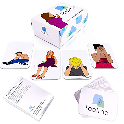 Feelmo Speaking Cards: Set of 36 Professional Feeling Flashcards, Emotional Intelligence Flash Cards for Kids Counseling, CBT Child Therapy Games for Therapists, Parents, Teachers, Counselors
