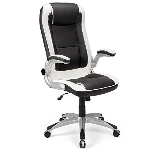 BlueOcean Furniture - Sedia ergonomica da ufficio, in pelle, con braccioli regolabili e supporto per lo schienale girevole, per la casa