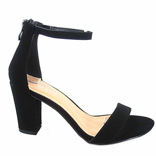 Top Moda Hannah-1 Women's Fashion Ankle Strap Evening Dress High Heel Sandal Shoes (8 B(M) US, Black)