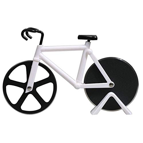 ROBAKO Pizzaschneider Fahrrad Pizzaschneider/Edelstahl Doppel Pizza Schneider/rostfreier Stahl/Geeignet für Haus und Küche/Weiß