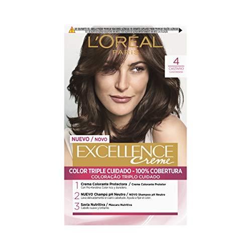 L'Oréal Paris Excellence Coloración Crème Triple Protección, Tono: 4 Castaño