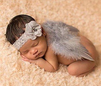 Lavillede Mini Cabeza de Flor con alas de Plumas de ángel Accesorios de fotografía de bebé