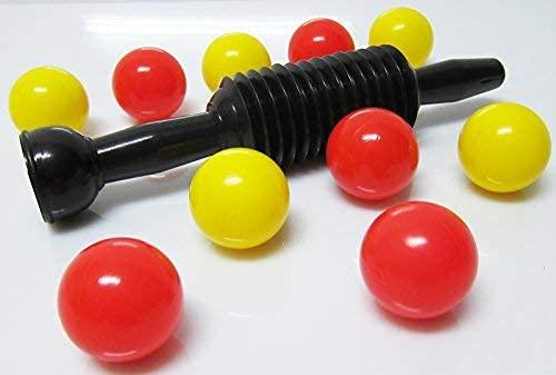 PUMPGUN - Tappetino per palloni da calcio, con 10 palline da palloni, colore: Rosso/Giallo/Nero