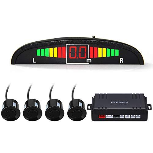 VETOMILE - Einparkhilfe mit LED Farbdisplay ( 4 hinten Sensoren, Ton Alarm, LED Alarm, Radarsystem, Anti-Frost, sicher und zuverlässig, Lange Lebenserwartung )