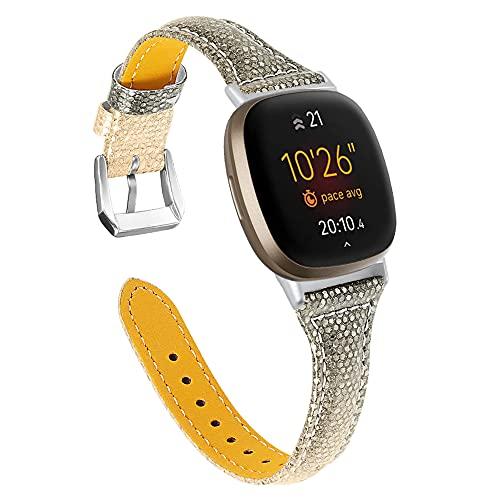 QINJIE Correa de Piel Fina Compatible con Fitbit Versa Elegante Correa de Pulsera Elegante Reemplazo de Correa de Piel Suave clásica,E