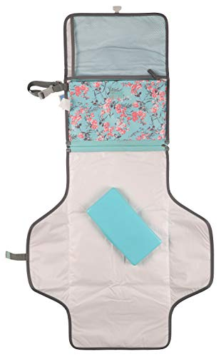 Laura Ashley Baby Portable Changing Pad, Mint Floral Print