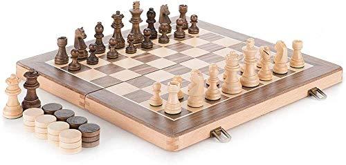 WJJ Ajedrez Internacional 38x38cm, ajedrez y Damas de Madera, Tablero de ajedrez de los niños de Gama Alta, el Entretenimiento de Ocio/Juguetes educativos/Juegos de Mesa de Estrategia