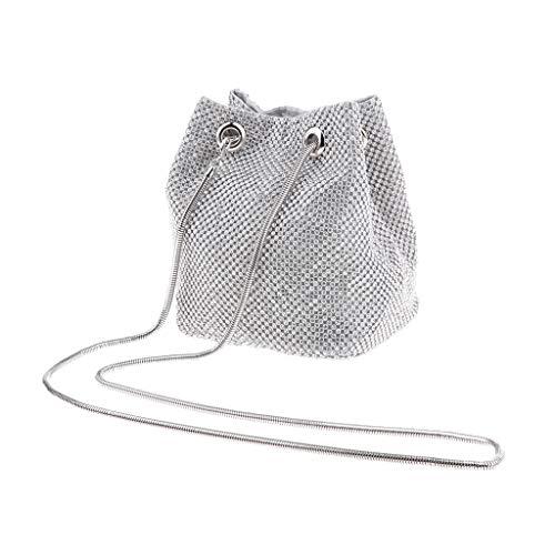 Damen Bucket Bag Schultertasche Umhängetasche Clutch Abendtasche Handtasche - Silber