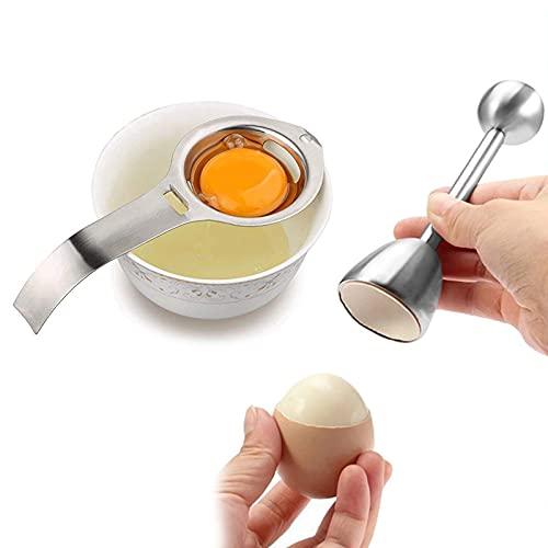 Edelstahl Eier Cutter,Edelstahl Eiertrenner,EiöFfner,Edelstahl Eiertrenner fur Eigelb,Einfach zu Bedienen,Langlebig,FüR Harte & Weiche Eierschalen Verwendet,Kann in der SpüLmaschine Gewaschen Werden