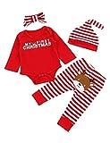 Von kilizo My Frist Christmas Baby Girl Clothes Cute Baby Girl Christmas Romper + Pants 4PCS Christma Baby Girl Outsits Red