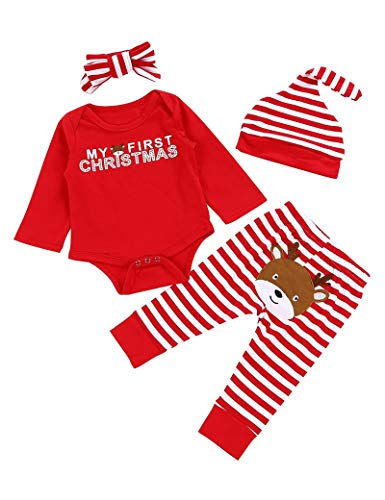 Von kilizo My Frist Christmas Baby Girl Clothes Cute Baby Girl Christmas Romper + Pants 4PCS Christma Baby Girl Outsits Red