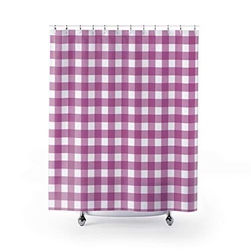 Alicert5II Gingham Duschvorhang lila & weiß überprüfen Bauernhaus Badezimmer Dekor Kinder Duschvorhang Distel lila