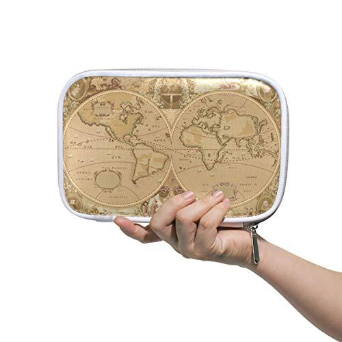 Weltkarte mehrere große Leder Bleistift Stift Taschen Tasche Reise Kosmetik Fall Passport Wallet mit Reißverschluss