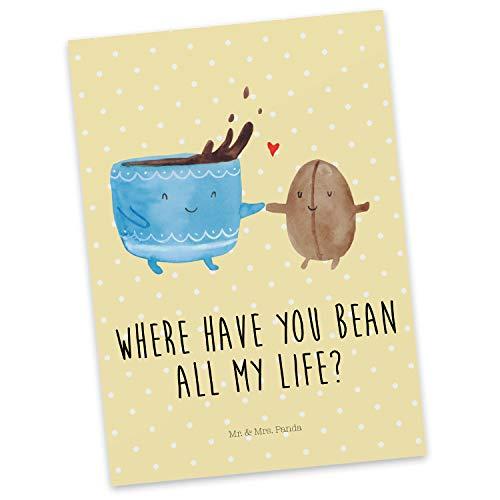 Mr. & Mrs. Panda Ansichtskarte, Einladung, Postkarte Kaffee Bohne mit Spruch - Farbe Gelb Pastell